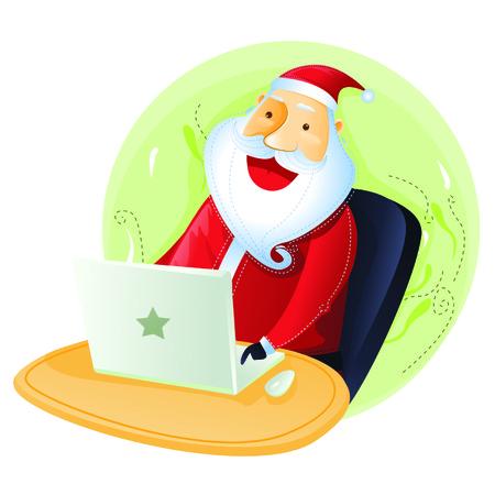 merry chrismas: Santa in front of computer