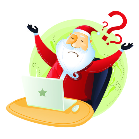 no idea: Santa have no idea in front of computer