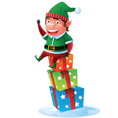 Elf sit on gift boxes Vector
