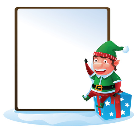 Elf with sign sit on gift box Vector