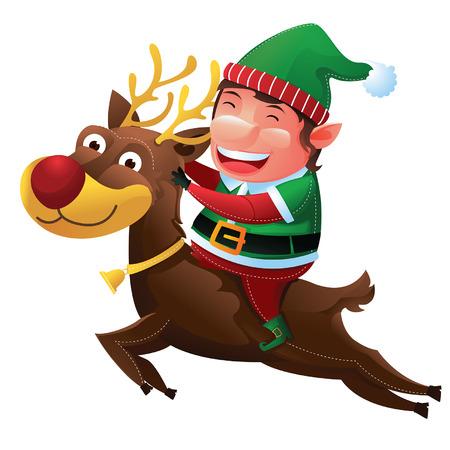 Elf riding reindeer Vector
