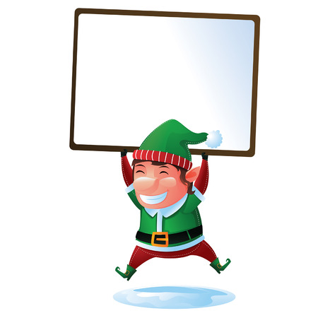 Elf with sign Vector