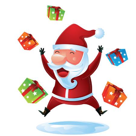 Santa Jumping with Gift Boxes Vector