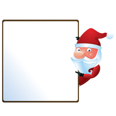 Santa with sign Vector