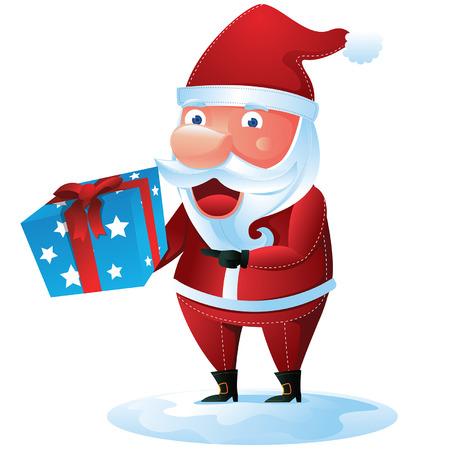 Santa bring gift box Vector