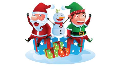 Happy Companion Santa, elf, and snowman Vector