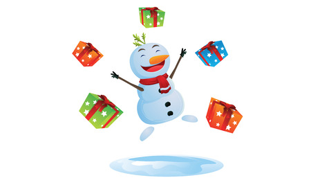 Happy Snowman with gift boxes Vector