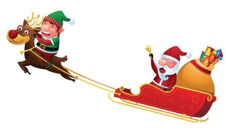 Kerstman en elf rijden rendierslee