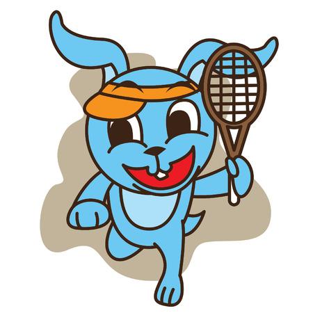 t shirt blue: Rabbit Playing Tennis