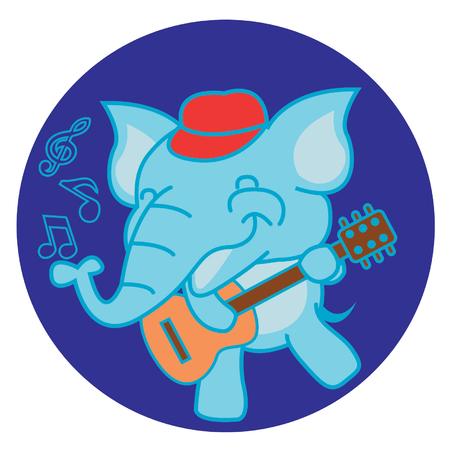 impudent: Elephant and guitar Illustration