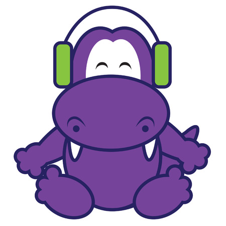 listener: Dinosaur Listening Music Illustration