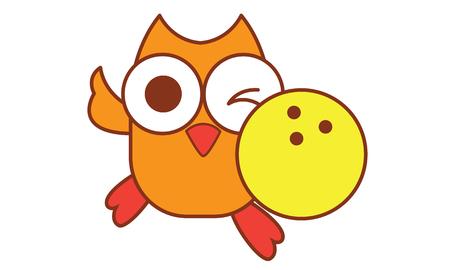 Owl Bowling Ilustracja