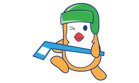 ice hockey player: Penguin Playing Hockey Illustration
