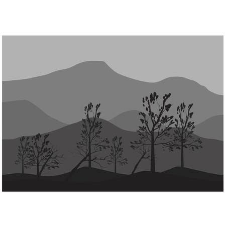 Silhouettes of fallen tree