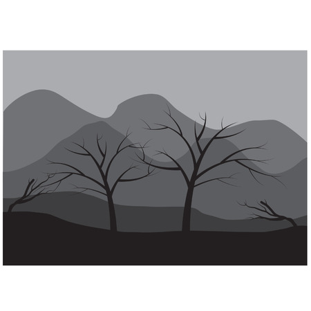 tree lined street: Silhouettes of dry tree Illustration