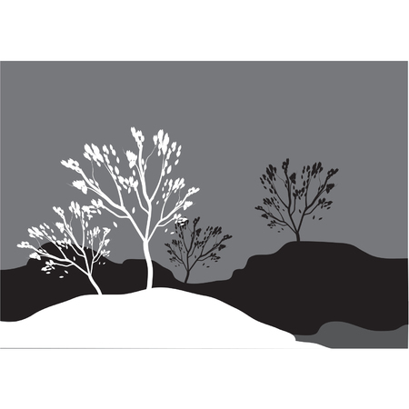tree lined street: Silhouettes of tree in snow Illustration