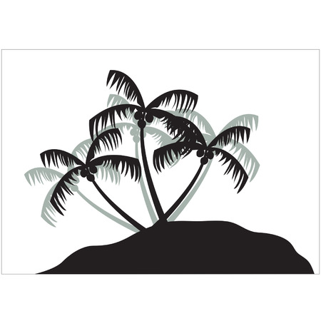 Silhouettes of coconut tree on the island