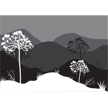 tree lined street: Silhouettes of on the mountain Illustration