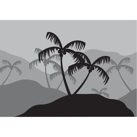 Silhouettes of coconut tree on the mountain