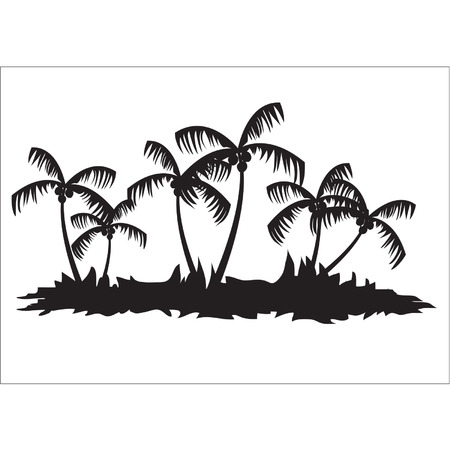 Silhouettes of palm tree forest