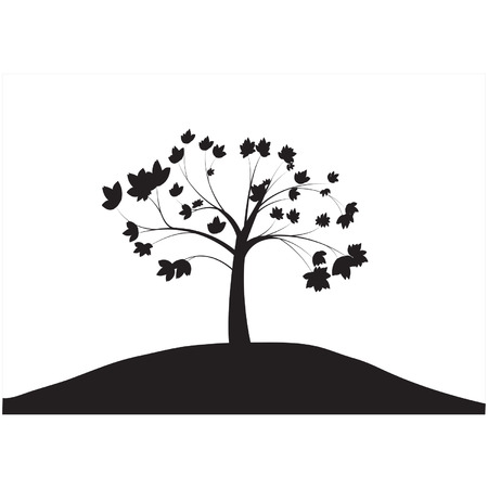 tree lined street: Silhouettes of single tree Illustration