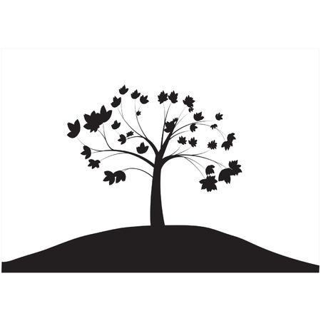 Silhouettes of single tree Illustration