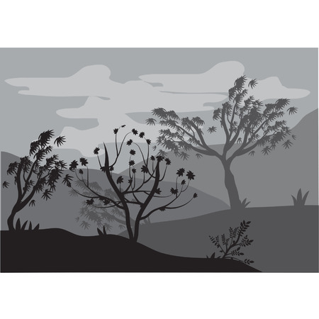 tree lined street: Silhouettes of trees by storms Illustration