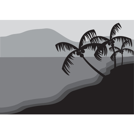 Silhouettes of palm trees on the beach