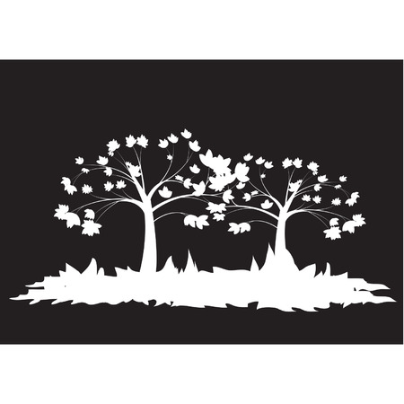 Silhouettes of two trees