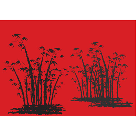 tree lined street: Silhouettes of bamboo with red background Illustration