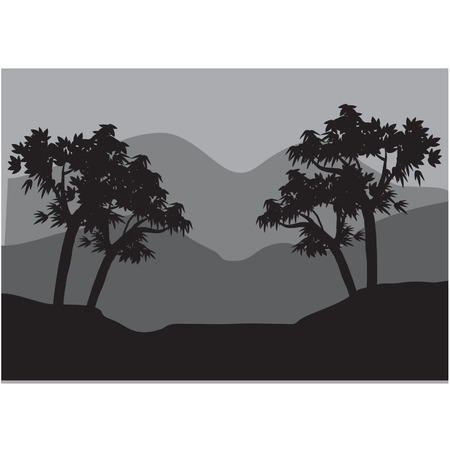 Silhouettes of couple tree