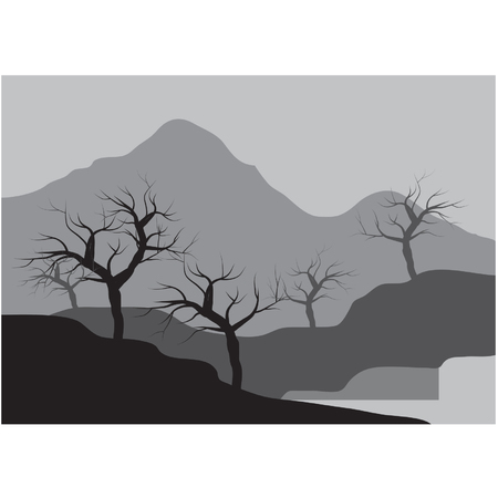 dry: Silhouettes of dry trees on the muontain Illustration