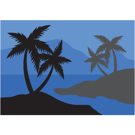 Silhouettes of palm at the night