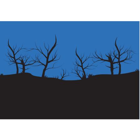 Silhouettes of autumn tree