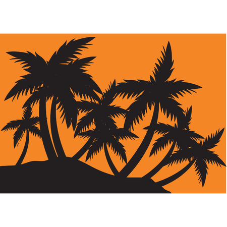 tree lined street: Silhouettes clump of palm tree Illustration