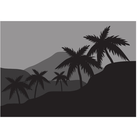 tree lined street: Silhouettes of palm on the hills Illustration