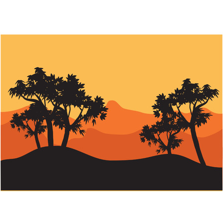 Silhouettes of tree with orange background