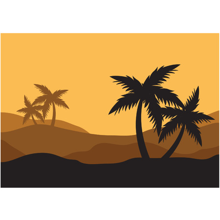 Silhouettes of palm in the desert