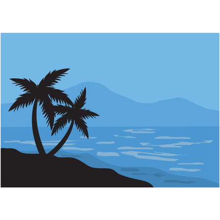 Silhouettes of two palm in the beach