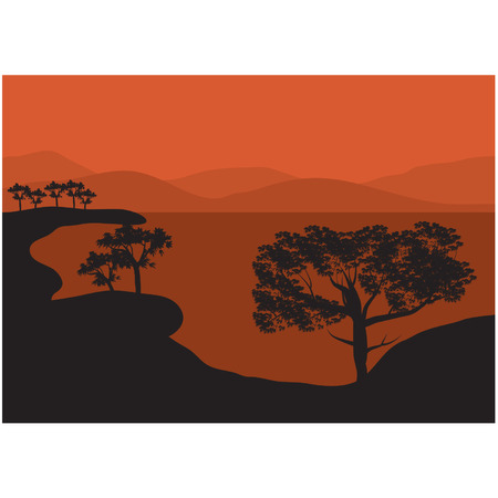 Silhouettes of trees on the lake