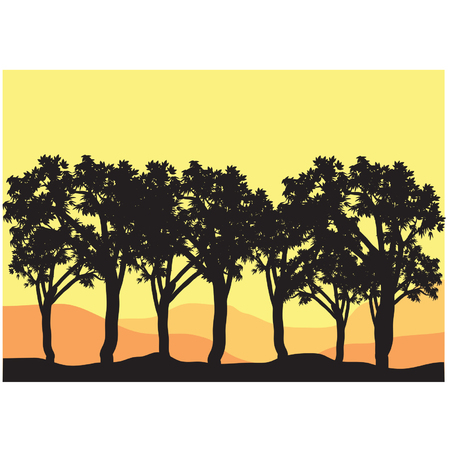 palm lined: Silhouettes of tree lined Illustration
