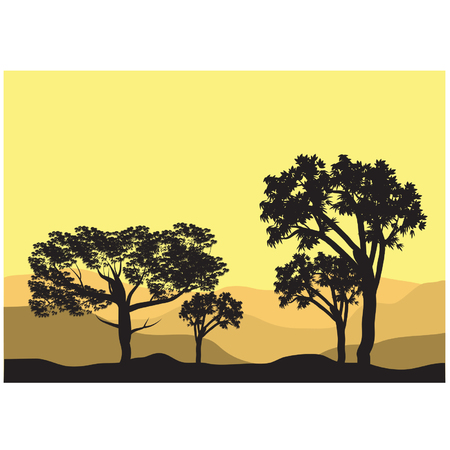tree lined street: Silhouettes of different tree Illustration