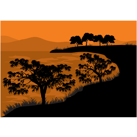 tree lined street: Silhouettes of tree on the lake Illustration