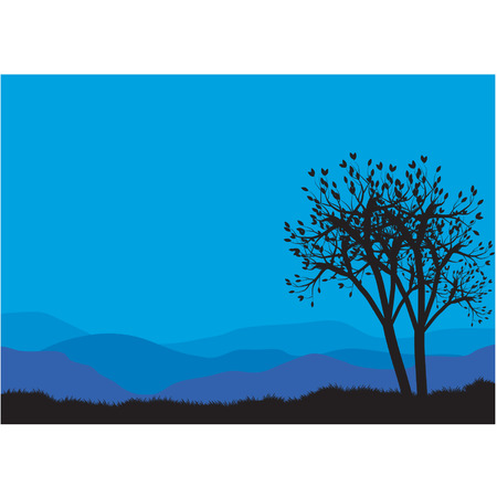 Silhouettes of spring trees Illustration