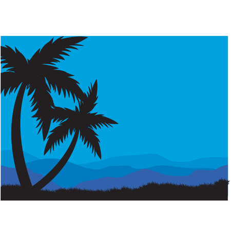Silhouettes of two palm