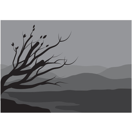 Silhouettes of spring tree on the lake