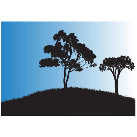 tree lined street: Silhouettes of two tree in fields Illustration