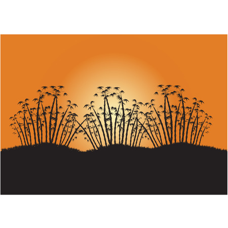 Silhouettes three clump of bamboo Illustration