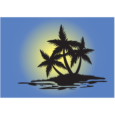 Silhouettes of palm trees of small island