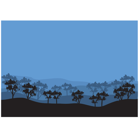 tree lined street: Silhouettes of garden plants Illustration